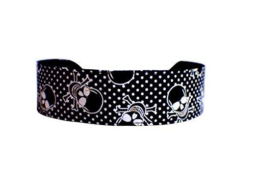 Skulls Crossbones and White Polka Dots Over Black, Soft Skinny Headband (Halloween Skull Headband)