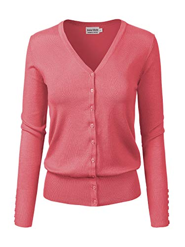 Instar Mode Women's Classic Button Down Long Sleeve V-Neck Soft Knit Sweater Cardigan [S-3XL] Pink Coral ()