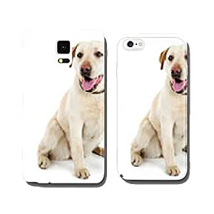 Cute dog with leash isolated on white background cell phone cover case Samsung S5