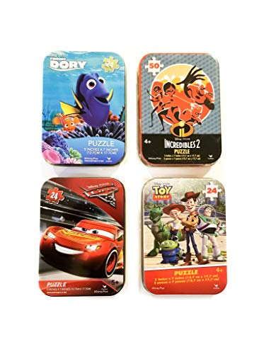 (Disney Pixar Movie Puzzle Bundle - 4 Collectible Puzzle Tins for Girls or Boys Ages 4+ and 5+ Featuring Toy Story, Incredibles 2, Finding Dory, and Cars 3 (24/50))