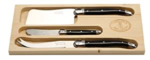 Jean Dubost Laguiole 3-Piece Cheese Knife Set with Black Handle