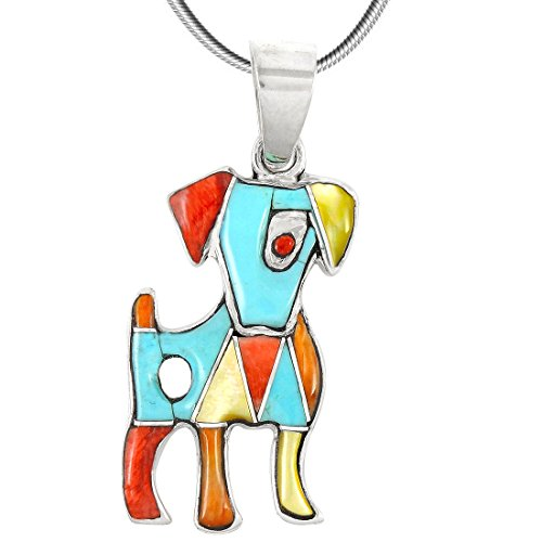 Puppy Dog Turquoise & Gemstone Pendant Necklace in 925 Sterling Silver (18