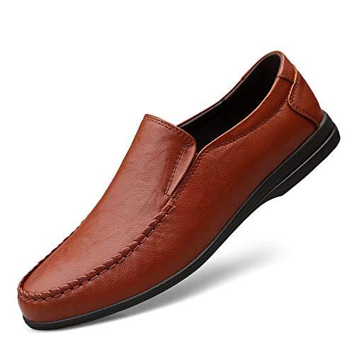 Redonda Conducción Deslizante Reddish Dadijier Forro Punta Antideslizante Vestir De Ocasionales Hombres Zapatos Con Loafers Los Transpirables Genuino Plano Brown Cuero Penny Ligero En 1Hz1OS