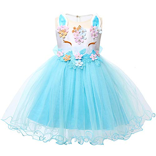 LZH Baby Girl Unicorn Flower Dress Bowknot Lace Birthday Party Baptism Gown for $<!--$20.99-->