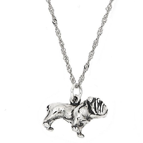 Sterling Silver Shar Pei Dog Charm with Thin Singapore Chain Necklace (20 Inches) - Shar Pei Dog Charm