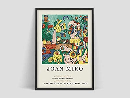 Póster de exposición de arte de Joan Miro, impreso por Galerie Berggruen Paris, póster de Joan Miro, grabados de Joan Miro, exposición de arte familiar Pinturas decorativas sin marco X 40x60cm
