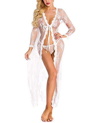 - Goldway Women's Sex Lingerie Sexy Lace Robe Lace Night Gown G-String Erotic Lingerie