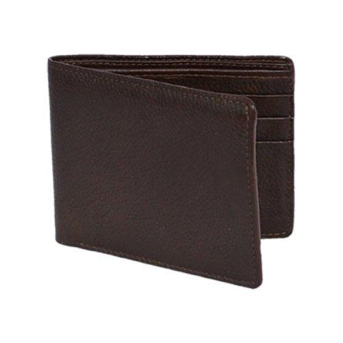 (Genuine Brown Elk Deer Hide Leather Bi-Fold Wallet - Exotic Leather Wallet)