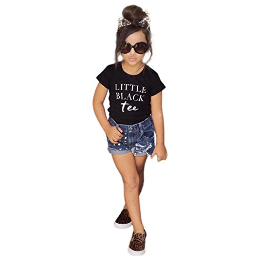 FEITONG 2017 Little Kid Girls Letter T-Shirt Tops+ Demin Shorts Pants Clothes Set Outfit (2T/2Years, Black)]()