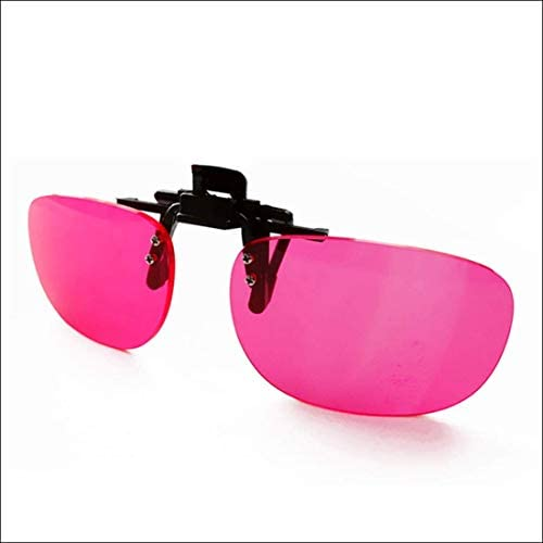 Zryh メガネの色盲クリップ赤緑色覚異常の赤いレンズ眼鏡フリップ作品