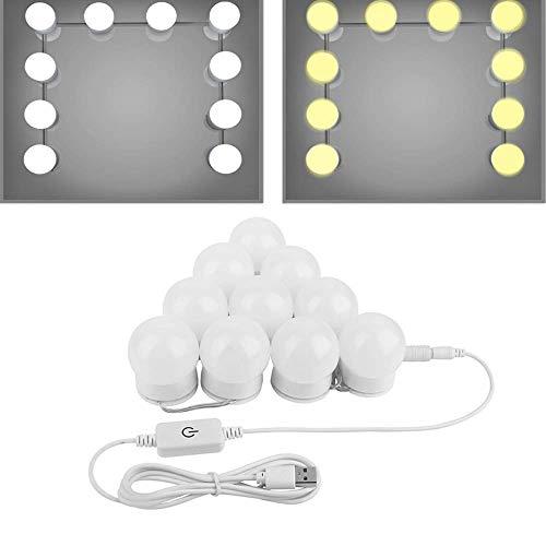 ([2018 Upgrade]Hollywood Style LED Vanity Makeup Mirror Lights Kit- ChungGorGor Modern Makeup Light with USB Power Supply Plug, 10 Dimmable Bulbs,15 ft,White/Warm)