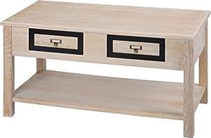 Mazali–Mobili da tavolo con 2cassetti, legno, marrone chiaro, 90x 45x 48cm