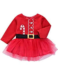 7b6eba852 Christmas Baby Girls Long Sleeve Print Tutu Dress Red Crystal Princess Party  Skirt Bodysuit