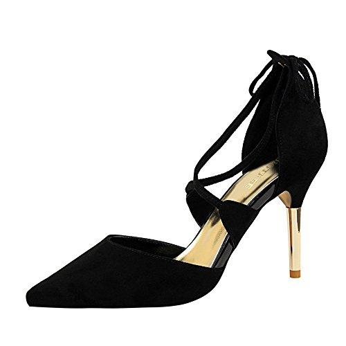 z&dw Tacones finos de metal sexy gamuza hueco sandalias de correa cruzada negro