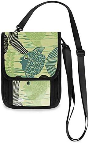 トラベルウォレット ミニ ネックポーチトラベルポーチ ポータブル 魚柄 小さな財布 斜めのパッケージ 首ひも調節可能 ネックポーチ スキミング防止 男女兼用 トラベルポーチ カードケース