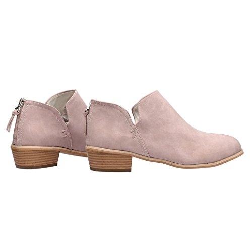 Bringbring Women Ladies Autumn Shoes Fashion Ankle Solid Leather Martin Shoes Short Boots Pink Ag3qb