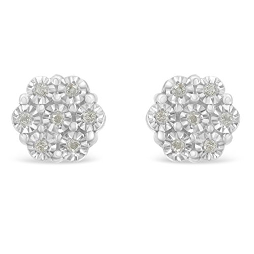 Sterling Silver Rose-Cut Diamond Floral Cluster Stud Earring (0.1 cttw, I-J Color, I2-I3 Clarity) ()