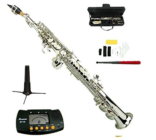 Merano B Flat Silver Nickel Soprano Saxophone,Case,Mouth Piece, Reed,Screw Driver, Nipper,a Pair of Gloves,soft Cleaning Cloth, Metro Tuner, Stand