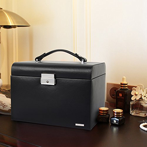 Homde Jewelry Box Necklace Ring Storage Organizer Synthetic Leather Large Jewel Cabinet Gift Case (Black) by Homde (Image #6)