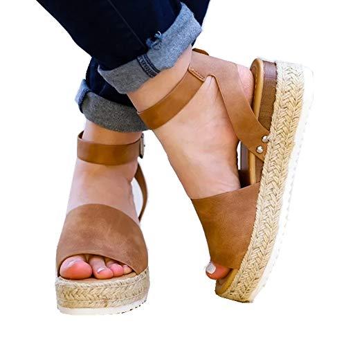 Ymost Womens Espadrille Sandals Open Toe Halter Ankle Strap Flatform Wedges Shoes