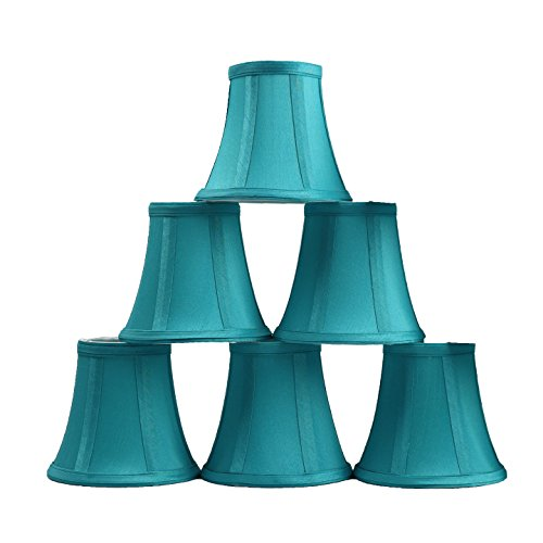 Urbanest Set of 6 Teal Silk Bell Chandelier Lamp Shade, 3-inch by 5-inch by 4.5-inch, Clip-on ()
