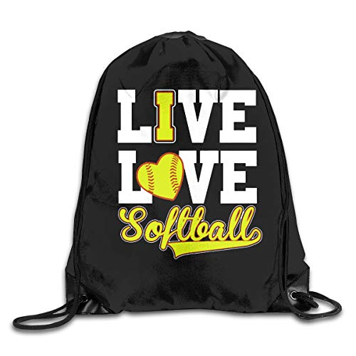 Drawstring Bag Live Love Softball Gym Sport Bags Cinch Sacks Travel Hiking Backpack For Men Women ()