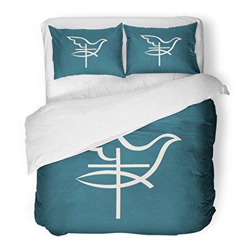 SanChic Duvet Cover Set Jesus Church Fish Cross Dove Holy Spirit Faith Hope Christ Love Decorative Bedding Set Pillow Sham Twin Size by SanChic