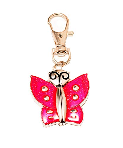 New Big Cute Butterfly Design Easy to Read time Key Ring Pocket Watch Children Gift (Pink) ()