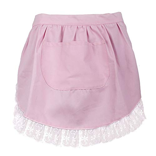 Aspire Lace Adult Half Apron Cotton Cooking Apron Perfect for Coffee House with Pocket -
