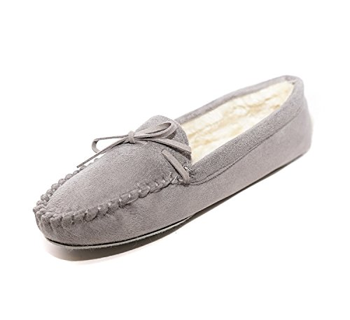 Grey Faux Winter Albert Charles Suede Lined Women's Slippers Fur Moccasins ZCwOxq