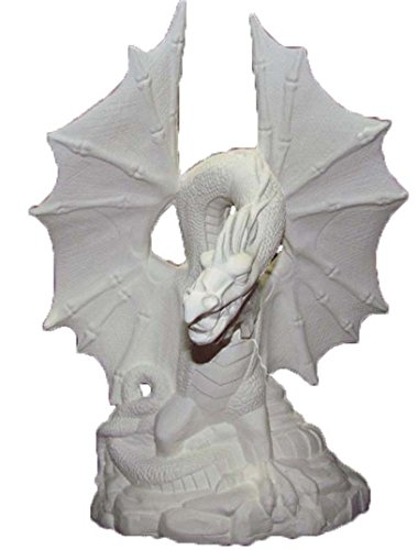 """FireKeeper Dragon 12"""" x 8"""" Ceramic Bisque, ready to paint"""
