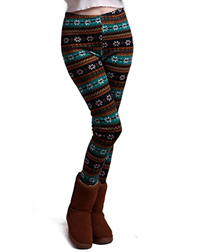 HDE Women Winter Knit Leggings Fleece Line Nordic Design Thermal Insulated Pants(Teal Black White Snowflake - Teal Thermal