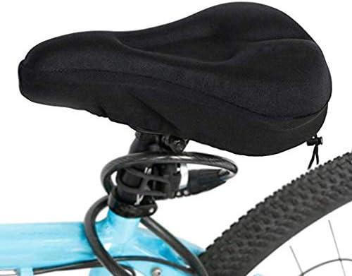 MBD 自転車サドル3Dソフトバイクシート広い自転車シリコーンクッションソフトパッドバイクシリカゲルシート自転車用サドルカバー XHJ-16 (Color : BLACK)
