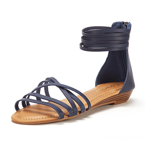 (DREAM PAIRS Women's JUULY_01 Navy Fashion Ankle Strap Flat Sandals Size 5 M US)