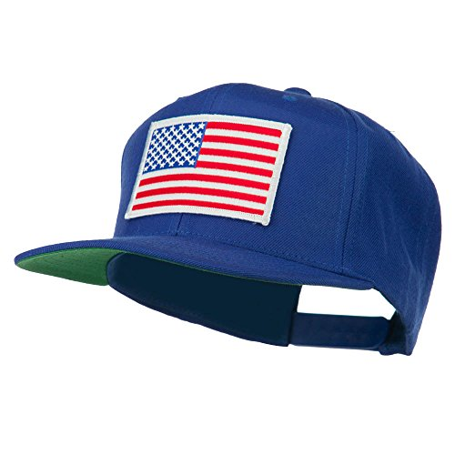 E4hats White American Flag Wool Blend Prostyle Patched Cap - Royal OSFM -