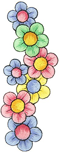Expo Iron-On Embroidered Applique Patches BaZooples Flowers on Vine Border