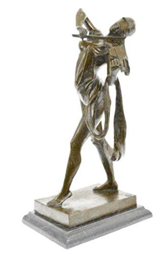 EUROPEAN BRONZE Admirable Erotic Nude Art Blindfold Female Violin Player Bronze Sculpture Statue Art Deco ()