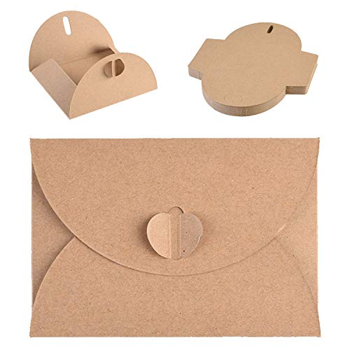 Ebeau 100PCS Mini Envelopes Gift Card Envelopes Kraft Paper Handmade Seed Envelopes with Heart Clasp Bulk Tiny Pockets for Notes Tags Holidays Holding Place or Flower Arrangement Cards 4.1