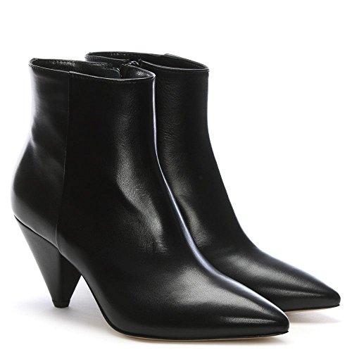 Daniel Veep Cuero Negro Cono Botas Talón del Tobillo Black Leather