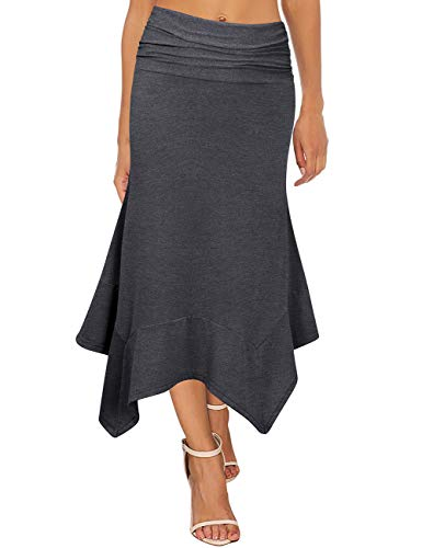 GloryStar Women's Elastic Waist A-Line Flowy Asymmetrical Pleated Midi Skirt (XL, Dark Grey)