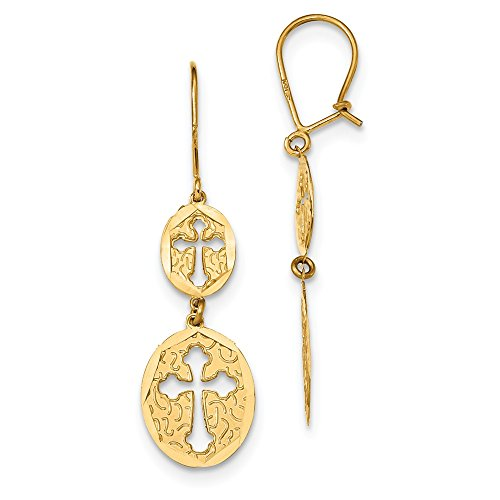 Jewelry Best Seller 14k Diamond-cut Oval Cross Dangle Kidney Wire Earrings by Jewelry Brothers Earrings