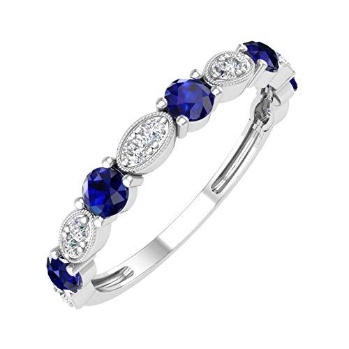 1/2 Carat Wedding Band with Prong Set Diamonds & Blue Sapphire in 10K White Gold (I2-I3 Clarity)- IGI ()