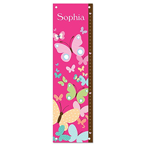 Personalized Custom Name Keepsake Growth Chart Height Ruler for Boys Girls Kids Room Wall Hanging Canvas Children's Baby Nursery Décor, Butterflies | I See Me! by I See Me!