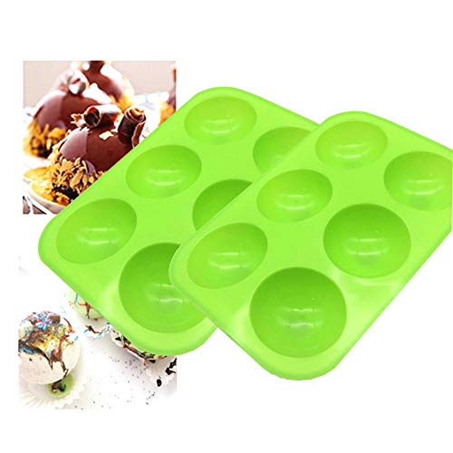 2Pcs New Medium Semi Sphere Silicone Mold,Baking Mold for Making Hot Chocolate Bomb, Cake, Jelly, Dome Mousse, Healthy lifestyle,Green