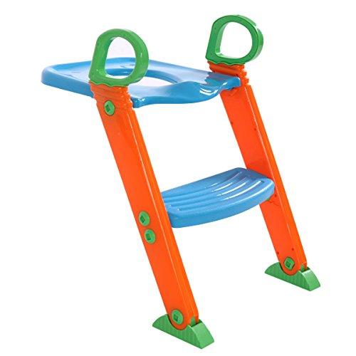 Price comparison product image Orange / Blue Kid Toilet Training Chair Step Stool Ladder w / Adjustable Height Feet