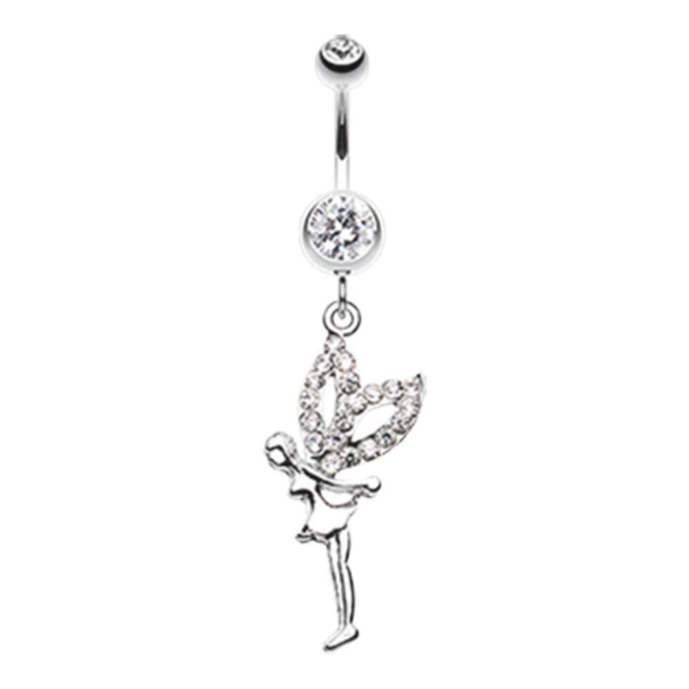 14 GA Fairy Dazzle Belly Button Ring 316L Surgical Stainless Steel Body Piercing Jewelry For Women and Men Davana Enterprises Multiple Colors