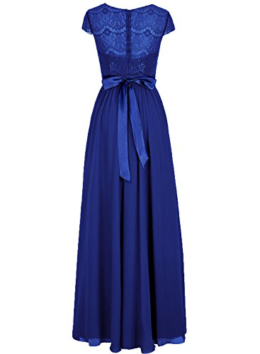 Cap Cdress Chiffon Bridesmaid Maxi Blue Dresses Sleeves Lace Prom Evening Long Ocean Party Gowns 1pwX1