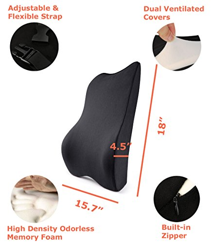Tektrum Orthopedic Back Support Lumbar Cushion for Home/Office Chair, Car Seat - Ergonomic Thick 3D Design Fit Body Curve, Washable Cover - Best for Back Pain Relief, Improve Posture - Black (015-A) by Tektrum (Image #1)