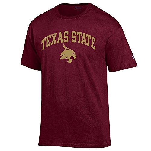 (Elite Fan Texas State Bobcats Men's Short Sleeve Arch Tee, Maroon, X Large)