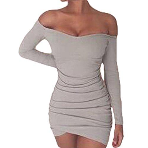 hibote Damen Bodycon Minirock mit langen Ärmeln sexy aus der ...
